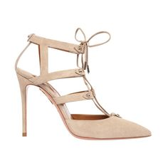 Aquazzura Bel Air Suede Pump (228.380 HUF) ❤ liked on Polyvore featuring shoes, pumps, neutrals, laced shoes, beige pointy toe pumps, beige shoes, lace up pumps and suede shoes