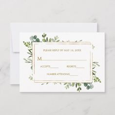 Shop Botanical Gold Greenery Wedding RSVP created by cardsbyflora. Personalize it with photos & text or purchase as is! Classic Wedding Invitations, Wedding Rsvp, Wedding Invitation Cards, Wedding Stationery, Wedding Cards, Rustic Wedding, Gold Wedding, Invite, Wedding Greenery