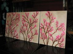 Set of 3 Stretched Canvas Paintings Cherry Blossoms Branches Faux Finished
