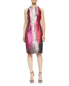 Sleeveless Paintbrush-Print Cocktail Dress, Size: 14, Multi - Carmen Marc Valvo