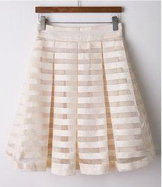 Falda plisada rayas Organza-blanco y beige US$25.80