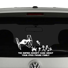 Vinyl Star Wars Car Decals of TIE Fighters Blasting Classic Stick Figure Family Into Oblivion