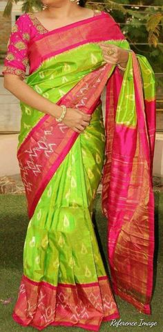 Whatsapp pochampally Ikkat pattu sarees Pochampally ikkat parrot green with pink handwoven pure silk saree Uppada Pattu Sarees, Pochampally Sarees, Ikkat Silk Sarees, Pure Silk Sarees, Latest Pattu Sarees, Georgette Sarees, Cotton Saree, Kurti, Pattu Saree Blouse Designs
