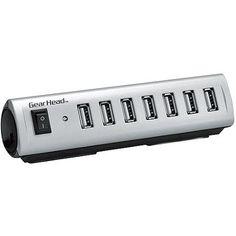 Gear Head 7-Port USB 2.0 Hub With Energy Saving Switch, Black