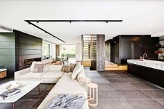 Renowned Sydney architecture firm, Squillace, created a spacious city oasis for a young professional family. Outdoor Tiles, Outdoor Decor, Granite Paving, Natural Stone Flooring, Vogue Living, Contemporary, Modern, Lounge, Architecture