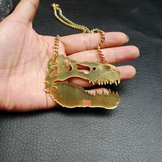 Acrylic Harajuku dinosaur Necklace retro  dinosaur skeleton necklaces sweater chain
