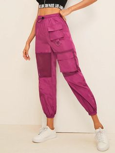 To find out about the Mesh Insert Pocket Patched Drawstring Wind Pants at SHEIN, part of our latest Pants ready to shop online today! Type Of Pants, Skirts For Sale, Drawstring Pants, Smock Dress, Fishnet, Fashion News, Autumn Fashion, Pants For Women, Fashion Clothes