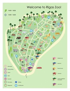 Designed by Irina Viskanta, Zoo Logo, Zoo Map, Student Numbers, Map Design, Tropical Houses, Amphibians, Proposal, Playground, Map Illustrations