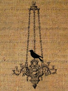 Digital Download Burlap Collage Sheet Bird Silhouette Chandelier Transfer To Pillows Totes Tea Towels Burlap No.1429. $1.00, via Etsy.