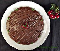 Tarta cu crema de ciocolata si mousse din curd de visine - Lecturi si Arome Mousse, Pudding, Desserts, Food, Cream, Pies, Tailgate Desserts, Deserts, Custard Pudding