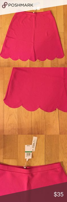 Spense Hot Pink Scallop Skirt Cool Spense Hot Pink Scallop Skirt perfect with boots or heels. Has elastic waist band and is about 22 inches in length. Fabric is 90% polyester and 10% spandex. Spense Skirts