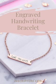 Both a gorgeous gift idea and a timeless treasure to add to your jewellery collection, our beautiful Bar Handwriting Bracelets are able to be engraved on one or both sides with yours or a loved one's very own handwriting. Personalised Jewellery, Engraved Jewelry, Cute Jewelry, Jewelry Gifts, Jewelery, Framed Initials, Cute Boyfriend Gifts, Prom Accessories, Friendship Necklaces