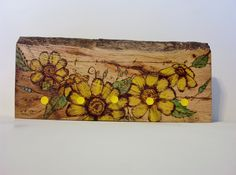 key rack peg storage sunflowers rack 5 pegs pyrography wood burning live edge rough milled oak recycled wood 12x5 inches by constersue on Etsy