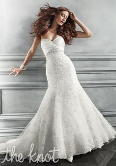 Beaded applique, embroidery, lace and charmeuse ruching at bust. // CB Couture B047