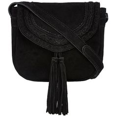 Nine by Savannah Miller Black 'Tori' suede cross body bag (€52) ❤ liked on Polyvore featuring bags, handbags, shoulder bags, bohemian handbags, black shoulder handbags, black purse, boho purse and black handbags