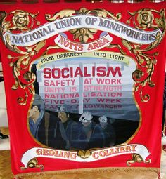 Notts NUM banner Fabric Painting, Sign Painting, Protest Art, End Of An Era, Labor Union, Personal Investigation, Green Party, Bunting Garland, Visual Display