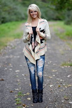 Winters in Montana Aztec Cardigan ~ Peach – The Pulse Boutique
