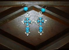 Native American Turquoise Cross Earrings w Nice Stone Beads #ChippewaCrafts. Buy it now! $13.99 Free Shipping!