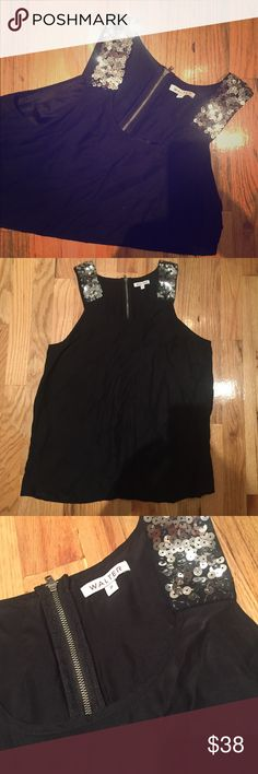 Walter 100% silk black top with sequins size XS Walter size XS black top 100% silk with black detail. Perfect for a night out! Walter Tops