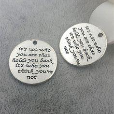 23mm Antique Silver Letters Charm Pendants It's not by rosediy2015