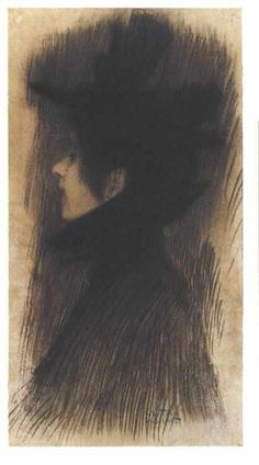 Girl with hat and cape in profil by @artistgklimt #symbolism