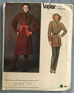 , in size Pockets are set into side front seams. Sash and pants not included. CONDITION: Looks new! Pattern is UNCUT and in factory folds; Authentic pattern from the era; not a reproduction. Vogue Sewing Patterns, Vintage Sewing Patterns, Wrap Coat, Coat Patterns, Jacket Pattern, Vintage Vogue, Vogue Paris, Jacket Dress, Givenchy