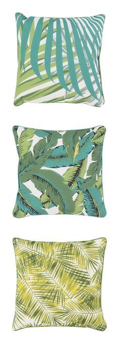 Super Cool Retro Palm Pillows! Set a tropical vibe in almost any space with these retro-inspired fabric prints.