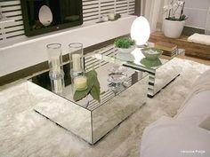 mesa de centro espelhado lapidado c/ rodas silicone Mais