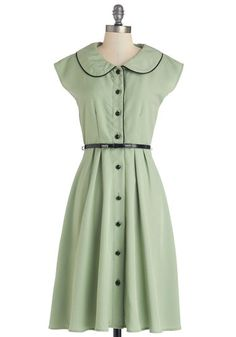 Fun Sweet Song Dress - Green, Solid, Buttons, Peter Pan Collar, Trim, Belted, Casual, A-line, Shirt Dress, Cap Sleeves, Better, Collared, Lo...