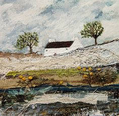 A blustery morning, Louise O'Hara. Thread Painting, Fabric Painting, Fabric Art, Free Motion Embroidery, Embroidery Art, Creative Textiles, Creative Embroidery, Textile Artists, Mixed Media Art