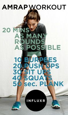 20 minute AMRAP (As Many Rounds As Possible in 20 minutes) Workout - added 50 jumping jacks for cardio and did the plank for 60 seconds. Fitness Workouts, Fun Workouts, At Home Workouts, Cross Fit Workouts, Workout Routines, Cardio Training, Mental Training, Training Motivation, Daily Motivation