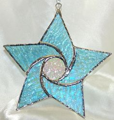 Stained Glass Iridescent Turquoise glass Star by glassnwood, $15.00