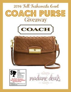 MadameDeals is providing a Coach Purse ($238 msrp) for the Fall Fashionista Event Oct 3-9,  120+ blogs ! In addition, there will be $26,000 dollars+ in prizes from all the blogs! Join us for the Fall Fashionista Event (October 9-17)  http://madamedeals.com/?p=496398