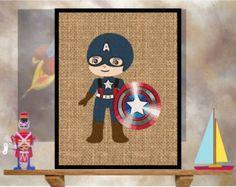 Burlap Kid America - Super-Hero Children's Bedroom Nursery Art Print: Professional Archival-grade Ink & Paper - 4 sizes to choose from.
