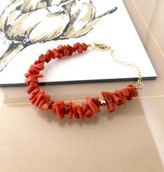 Coral Bracelet, Natural Coral Bracelet, Natural Mediterranean Coral Bracelet, Gold Natural Mediterranean Coral Bracelet, Gold Coral Bracelet