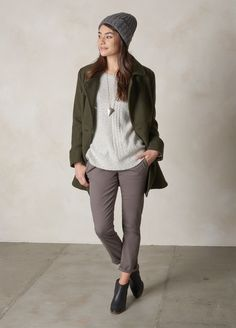 The Nicole jacket is our salute to the beloved peacoat. We've given it military inspiration in a heathered wood blend. Head to prAna.com for more eco friendly basics to complete your capsule wardrobe for fall and winter.