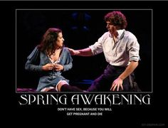 Hahahhaa I'm laughing so hard right now. For those of you who don't know spring awakening and just know the mean girls quote, that is the plot of spring awakening hahaha