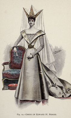 Dress of Edward IV Period from 'Fancy Dresses Described; or, What to Wear at Fancy Balls,' by Hold, Ardern, 1896
