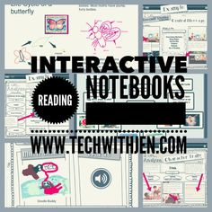 The Interactive Reading Notebook is great for students of all ages. These digital journals allow students to respond to texts through video, audio, and other creative ways. Use them with or without graphic organizers. Guided Reading Lessons, Reading Strategies, Teaching Reading, Math Lessons, Reading Comprehension, Learning, Teaching Ideas, Reading Resources, Reading Activities