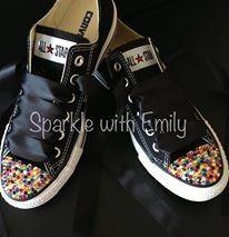 9911bf492 SWAROVSKI FOOTWEAR - Black Converse with Multicoloured Swarovski Toe Caps  and matching Black Ribbon Laces -