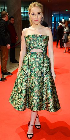 Last Night's Look: Love It or Leave It? Vote now! | KIERNAN SHIPKA | wearing a tropical-print jacquard Delpozo gown with a cutout, black sandals and a ponytail to the One & Two premiere at the Berlin Film Festival