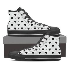 Black Hearts High And Low Tops - Women's