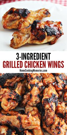 This Grilled Chicken Wings Recipe has is full of zesty flavor, incredibly easy, and heres the best part: its only 3 ingredients. Grilled Chicken Wings, Bbq Chicken Wings, Grilled Chicken Recipes, Grilled Meat, Grilled Shrimp, Grilled Salmon, Salmon Recipes, Buffalo Wings Recipe Grilled, Chicken Wing Recipes Healthy