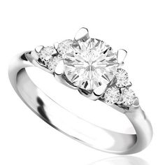 MaeVona 18K white gold meadowsweet semi-mount solitaire engagement ring.