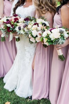 Pink bridesmaids dresses - long, mix-and-match bridesmaid dresses {Amelia Lawrence Weddings}