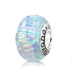 White Lab Opal Wheel Charm on Sterling Silver Core , Fits Pandora Bracelets and Necklaces. - List price: $40.00 Price: $28.80 Saving: $11.20 (28%)