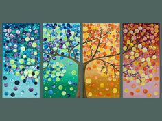 Group art projects - large abstract art original artwork gift for couple wall art canvas art four seasons tree by qiqigallerymade to order Group Art Projects, Auction Projects, Auction Ideas, Arte Country, Art Diy, Ideias Diy, Ouvrages D'art, Collaborative Art, Art Abstrait