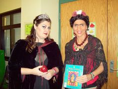 Book Character Day 2012.  Me with the music teacher.  Had fun putting together costume and makeup to be Frida!