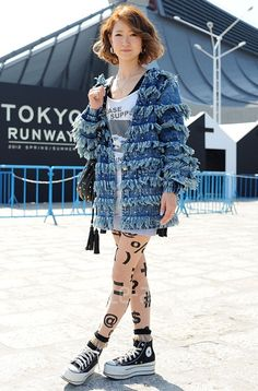 Yayoi wears hosiery & socks by #AmericanApparel