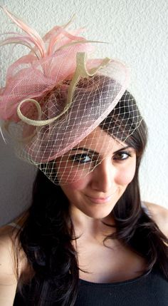 Pink Fascinator  Light Pink & Ivory Fascinator Hat by EyeHeartMe, $64.00